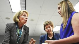 Betsy DeVos and teachers' union chief display differences during Ohio school tour