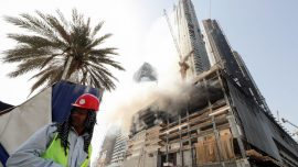 Fire hits 60-story tower in downtown Dubai