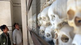 Bus takes tourists to sites of Cambodia's most gruesome history