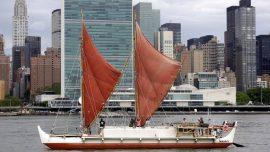 Hawaiian canoe using ancient navigation methods returns from round-the-world trip