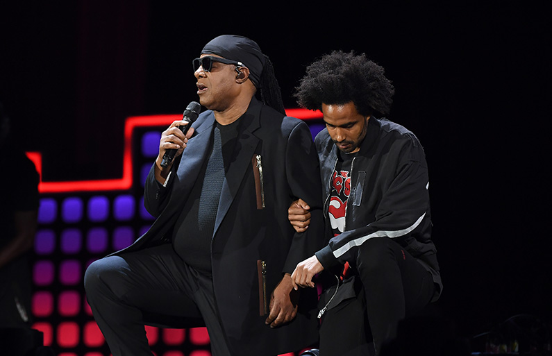Stevie Wonder and his son Kwame Morris onstage during the 2017 Global Citizen Festival: For Freedom. For Justice. For All. in Central Park on September 23, 2017 in New York City. (Angela Weiss/AFP/Getty Images)