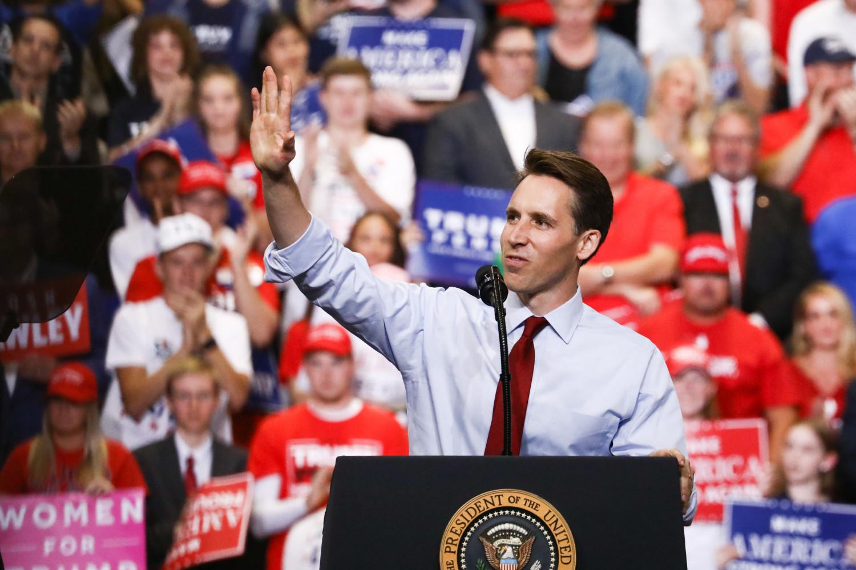 GOP Senate candidate Josh Hawley at a MAGA rally