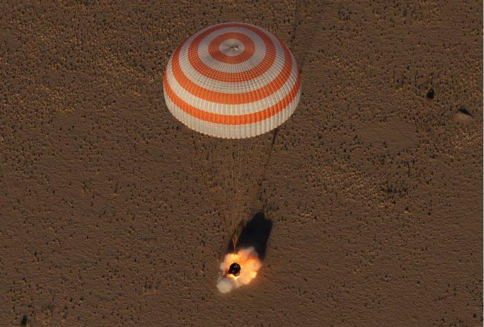 The Soyuz MS-08 spacecraft landing