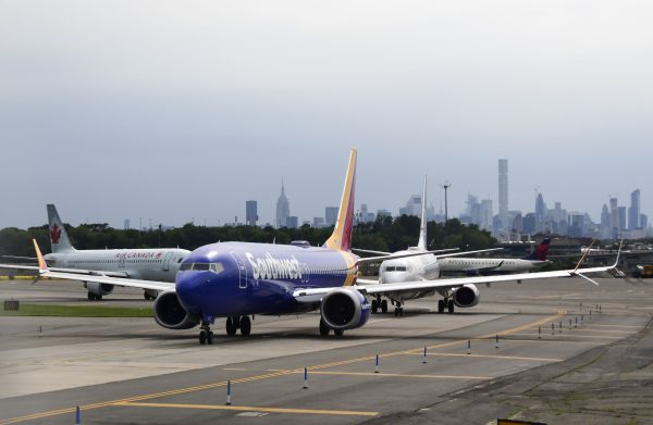 Southwest jet on the tarmac at La Guardia Airport