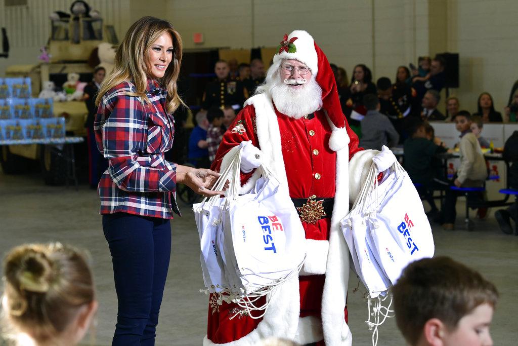 Melania Trump with santa