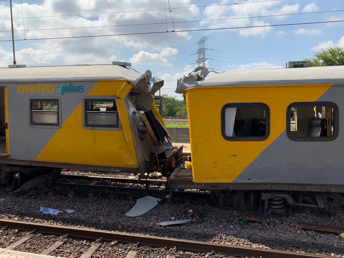 The site of a train crash in Pretoria, South Africa
