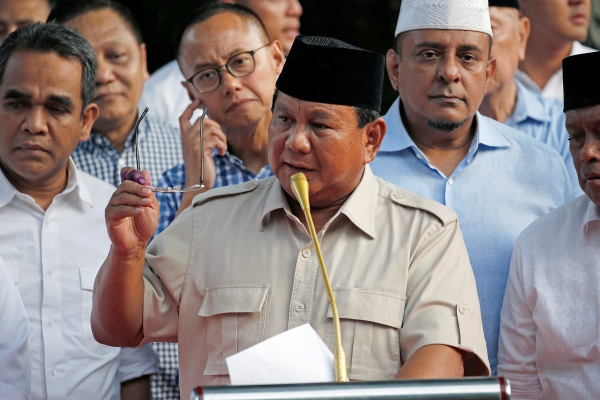 Indonesian presidential candidate Prabowo Subianto speaks to the media