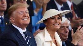 Melania Trump's Charming Ivory Coat-and-Hat Combo Turns Heads During D-Day Commemoration Events