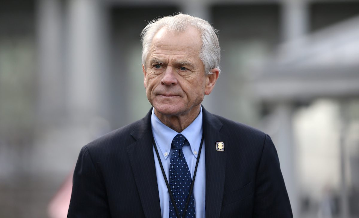 FILE PHOTO: White House trade adviser Peter Navarro listens to a news conference outside of the West Wing of the White House