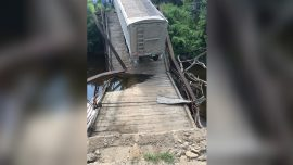 Pictured: 100-Year-Old Bridge Collapses Under Semitruck Nearly Four Times Over Weight Limit