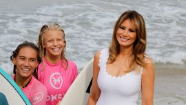 G7 First Ladies Exchange High-Fives With Biarritz Surfers at Beach