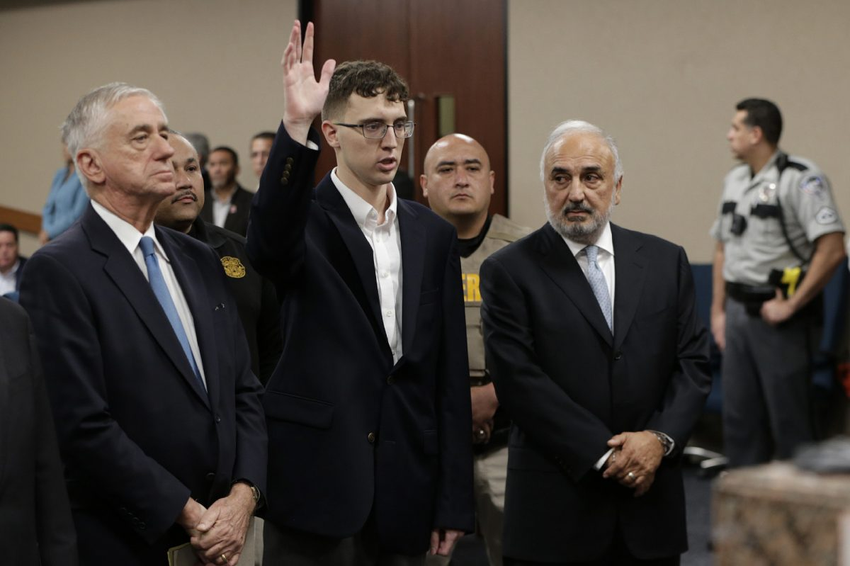 El Paso Walmart shooting suspect Patrick Crusius is arraigned Thursday, Oct. 10, 2019 in the 409th state District Court with Judge Sam Medrano presiding. (Mark Lambie/The El Paso Times via AP, Pool)