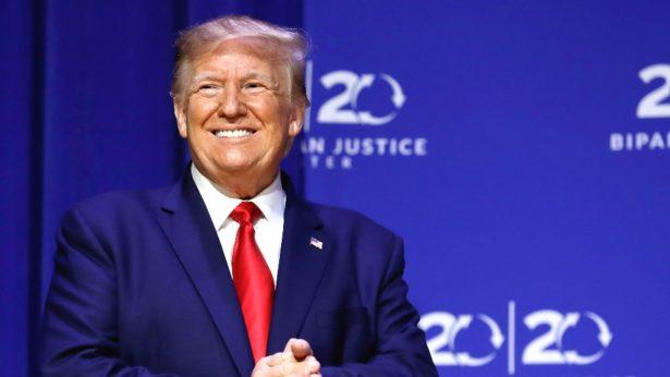 Trump arrives to speak