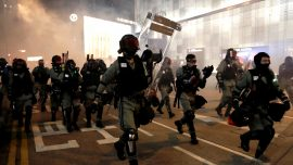 Hong Kong Police Fire Tear Gas to Disperse Protesters at Halloween Festivities
