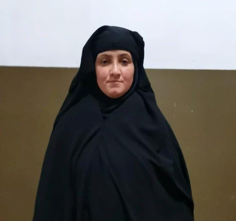 A woman, believed to be the daughter-in-law of Rasmiya Awad, sister of slain Islamic State leader Abu Bakr al-Baghdadi