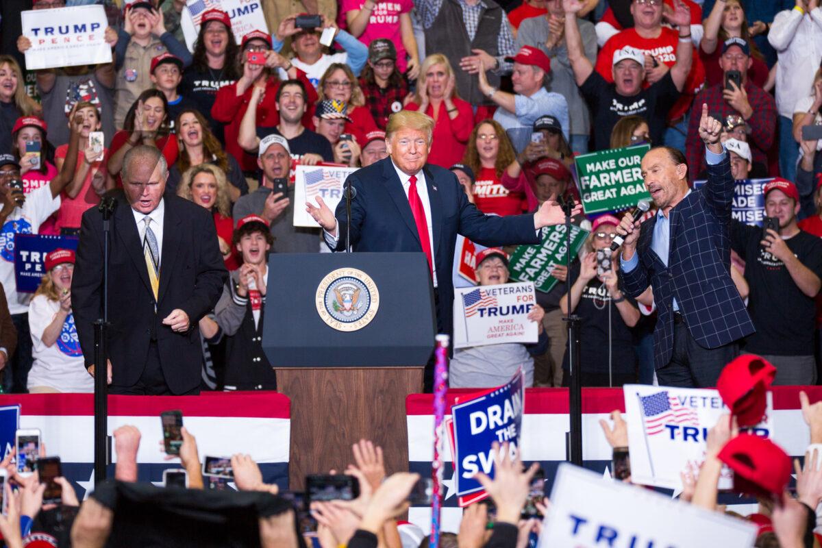 Commentator Rush Limbaugh, President Donald Trump