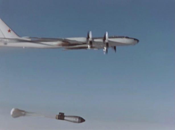A plane drops the so-called Tsar Bomba
