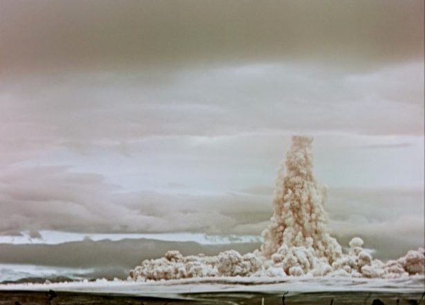 A cloud of smoke and dust rises in the sky after the so-called Tsar Bomba