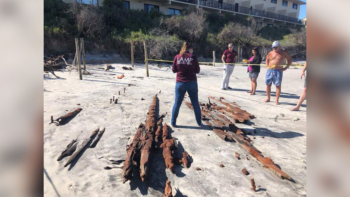 Researchers examine the timbers from the shipwreck