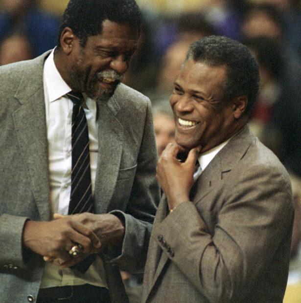 Former Boston Celtics teammates Bill Russell, Sacramento Kings coach, left, and K.C. Jones, Celtics coach,