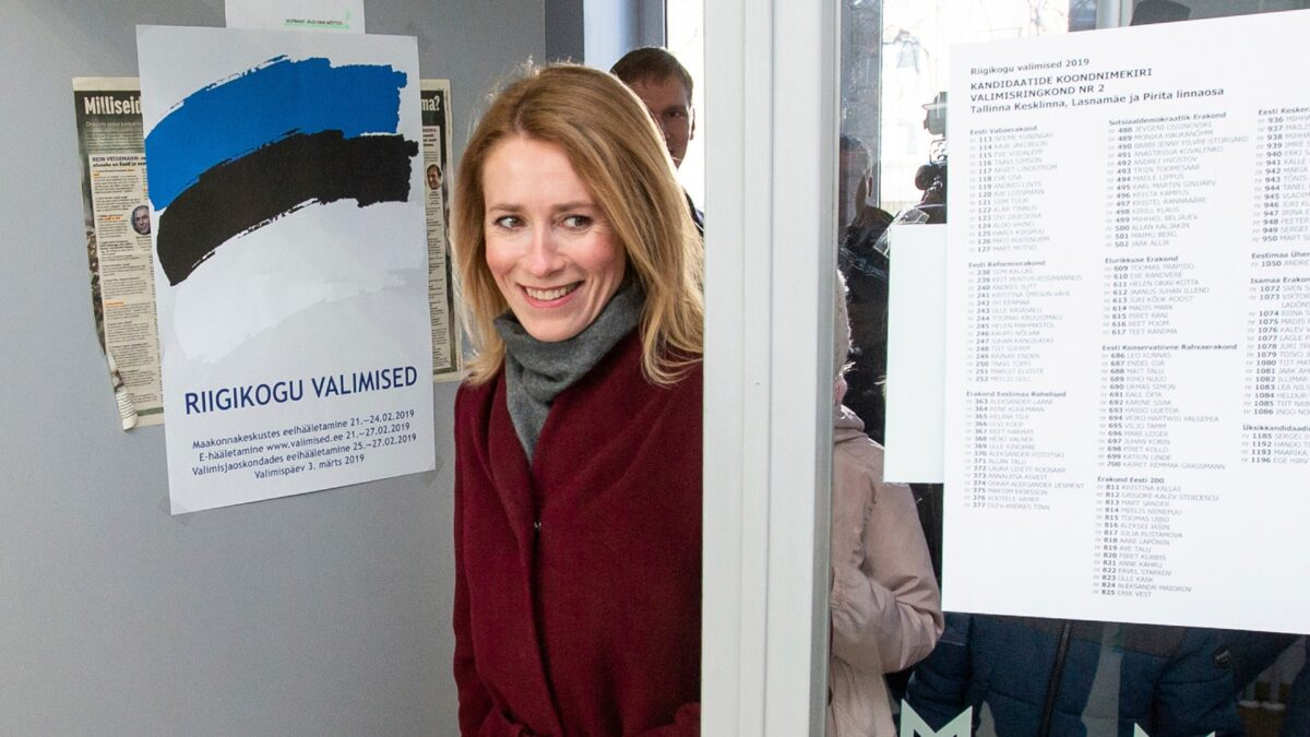 Chairwoman of the Reform Party Kaja Kallas arrives at a polling station during a parliamentary elections in Tallinn, Estonia, on March 3, 2019. (Raul Mee/AP Photo)