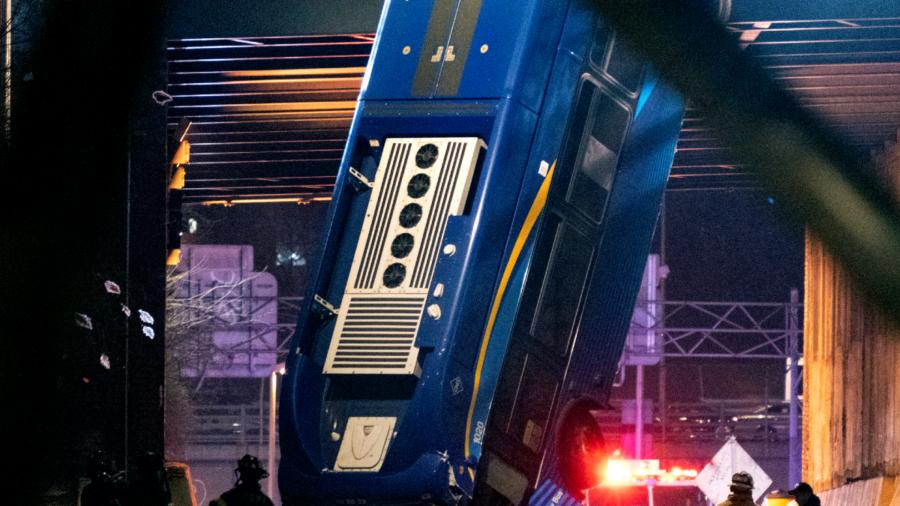 Bus Dramatically Plunges Off Bridge; Driver, Passengers Hurt