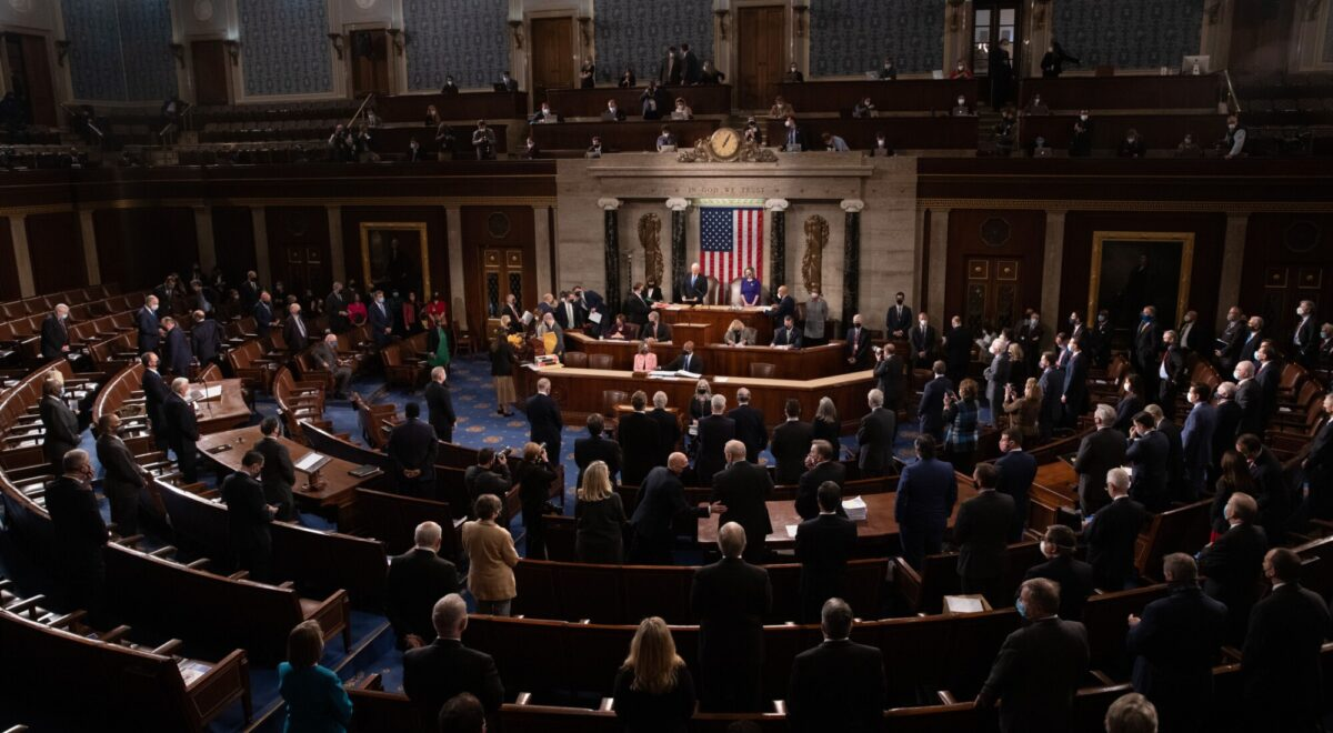 The House floor convenes before a joint session