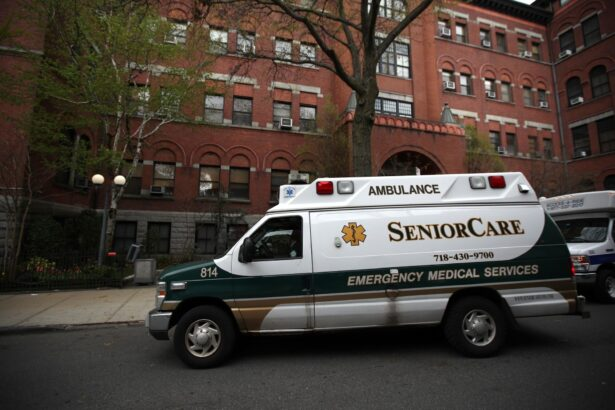 An ambulance pulls up