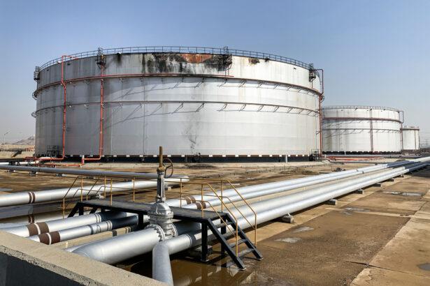 a damaged silo at the Saudi Aramco oil facility