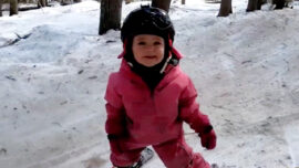 Skiing Toddler Gives Herself Pep Talks