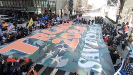 Trump Supporters Unfurl 'Trump 2024' Flag