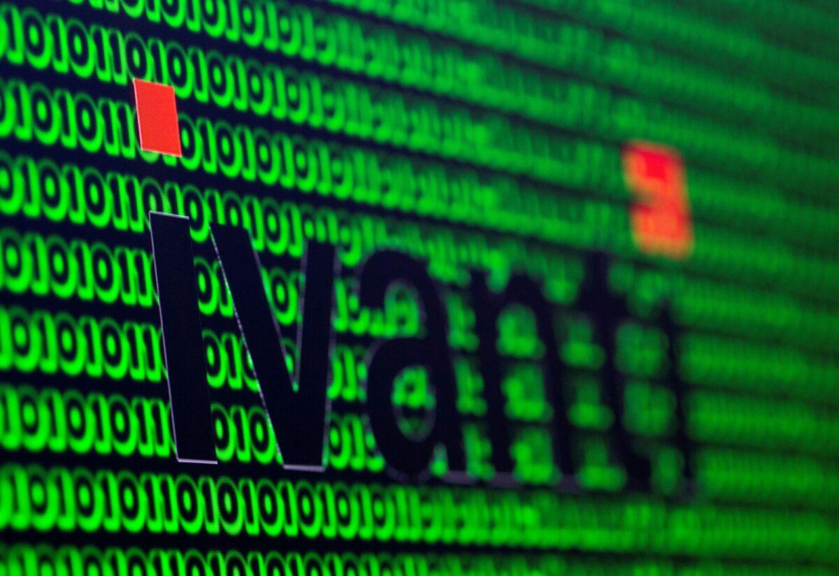 Ivanti logo and cyber binary codes