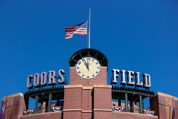 A general view of the clock tower at Coors Field