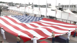 LIVE: Unfurling of 100-Foot American Flag—Memorial Day Ceremony at Intrepid Museum
