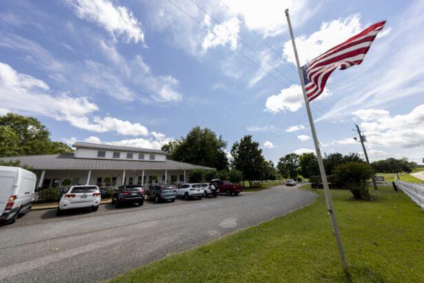 U.S. Flag flies at half mast