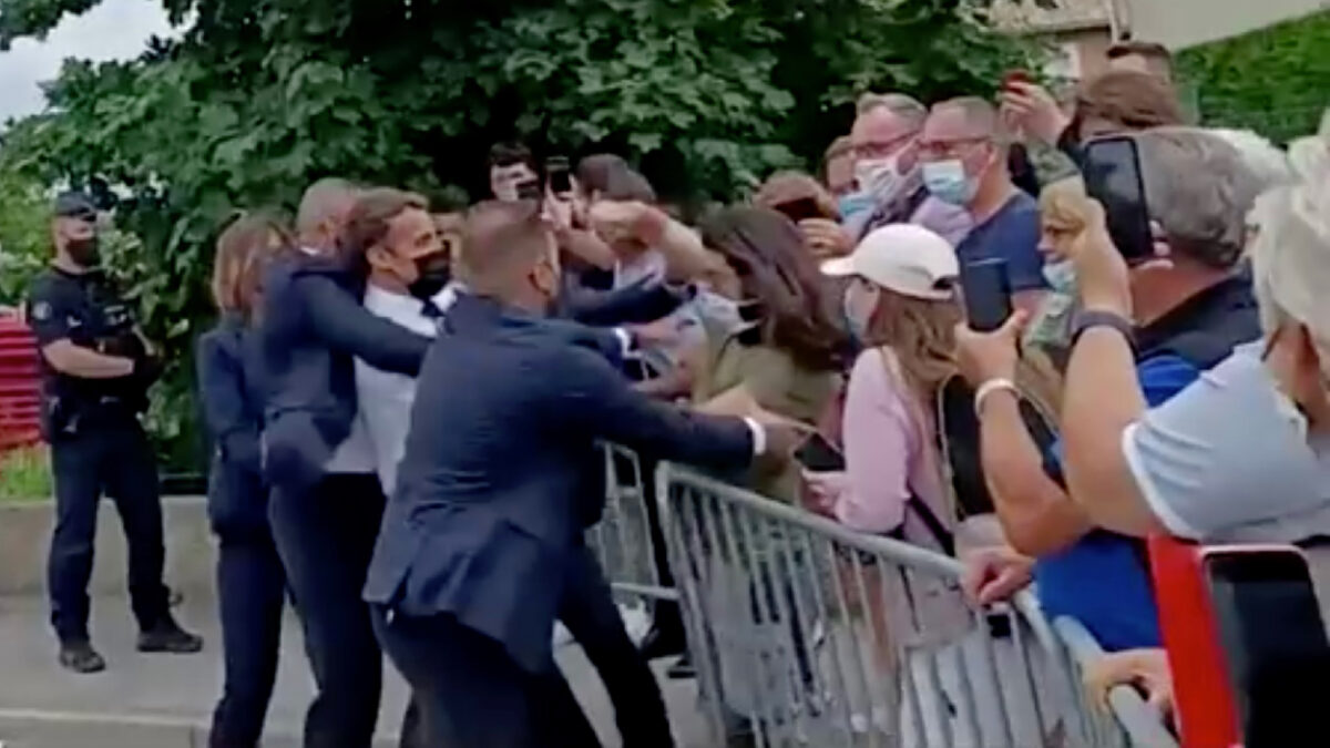 Macron is slapped in the face