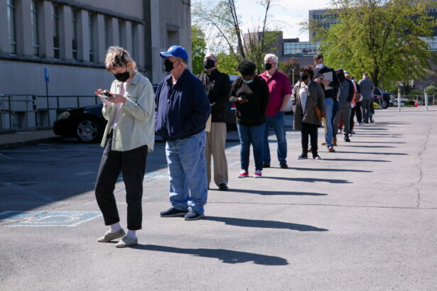 people-line-up-outside-a-career-center