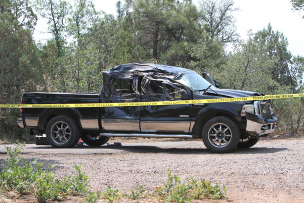 A crashed pickup truck