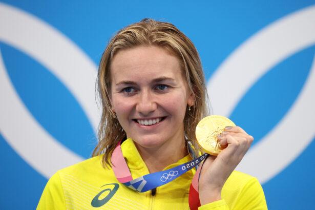 Ariarne Titmus of Team Australia poses
