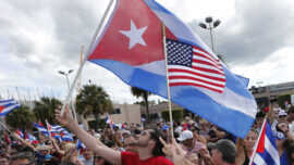 People Gather in Support for Cuba in Florida