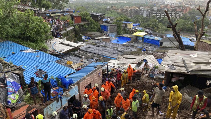 Landslides Kill 20 After Monsoon Rains in India's Mumbai