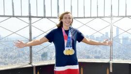 Ledecky Visits NYC After Winning 4 Medals