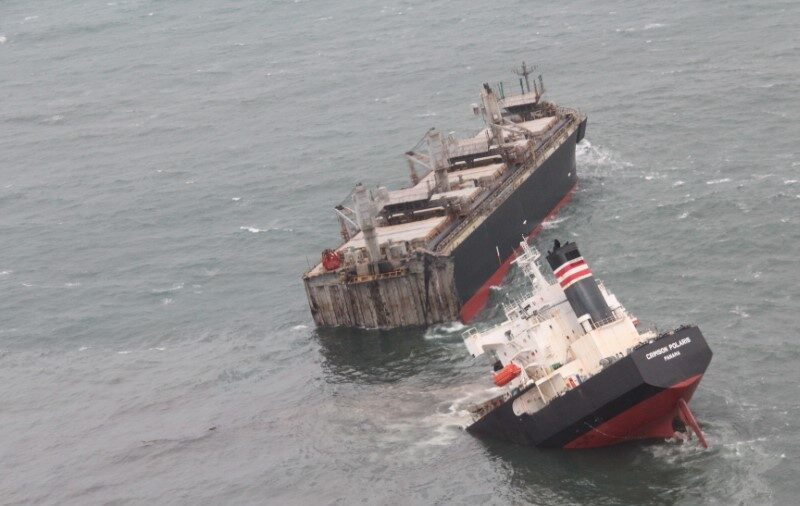 Cargo Ship Runs Aground in Japan and Splits in Two, Leaving Miles-Long Oil Leak