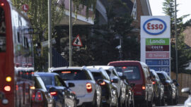 Cars Lining Up for Fuel in Britain