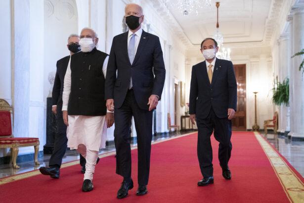 Joe Biden, Scott Morrison, Narendra Modi, Yoshihide Suga