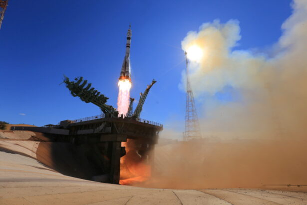The Soyuz MS-19 spacecraft carrying ISS crew blasts off from the launchpad at the Baikonur Cosmodrome