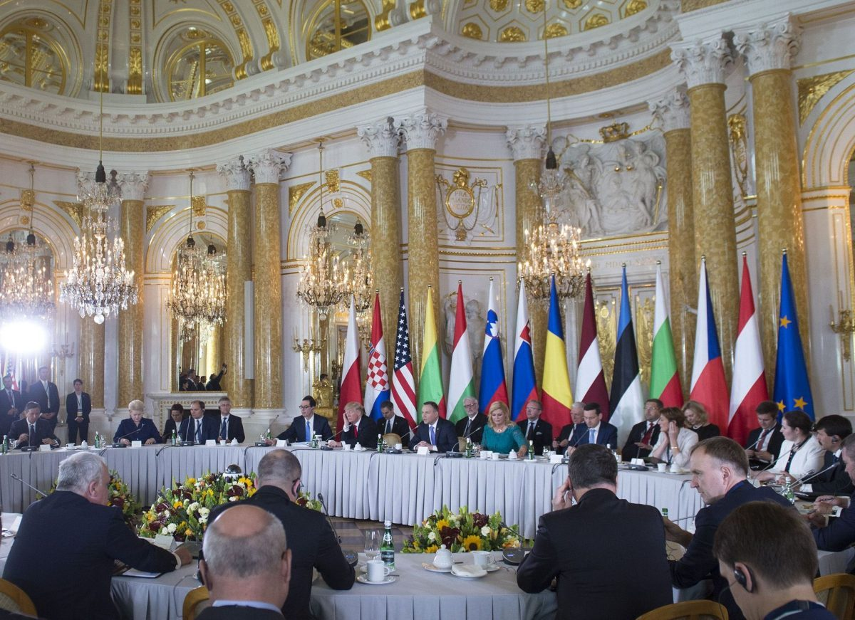 U.S. President Donald Trump and other leaders attend the Three Seas Initiative Summit of Eastern European countries at the Royal Castle in Warsaw, Poland, on July 6, 2017. (SAUL LOEB/AFP/Getty Images)