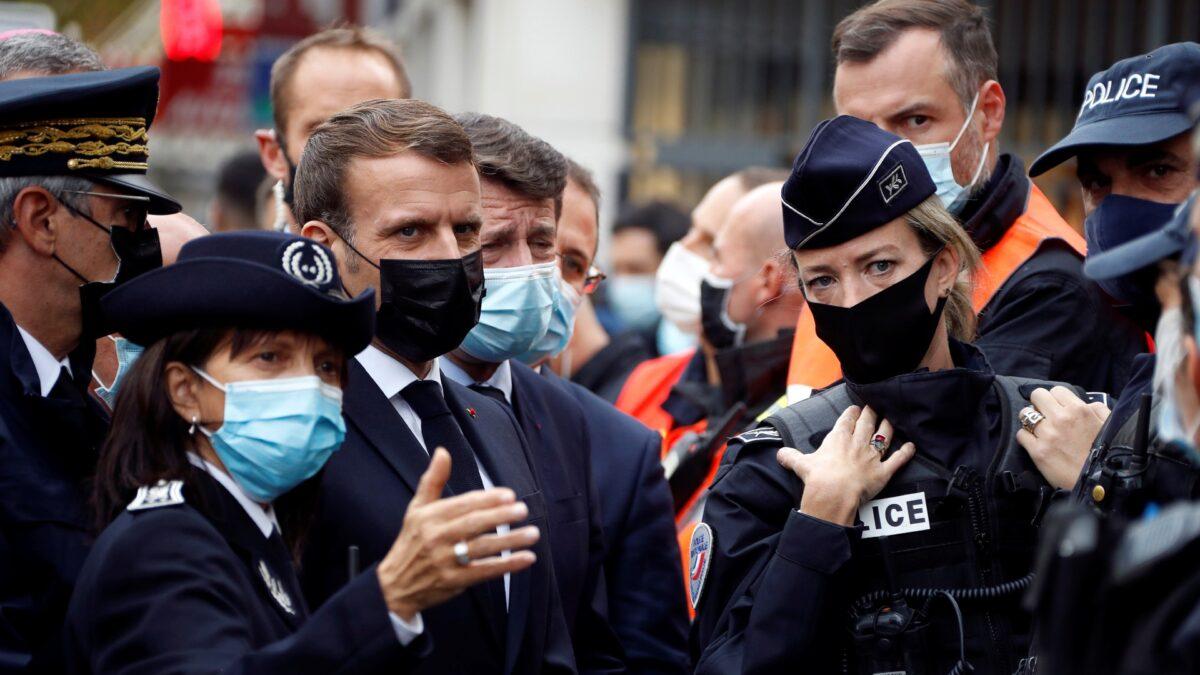 French President Emmanuel and Nice mayor Christian Estrosi Macron,