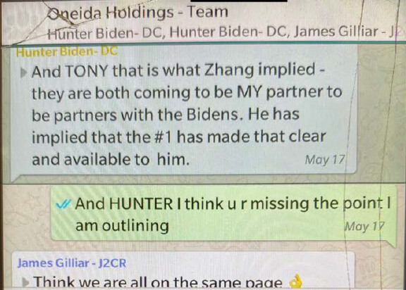 Text messages between Hunter Biden