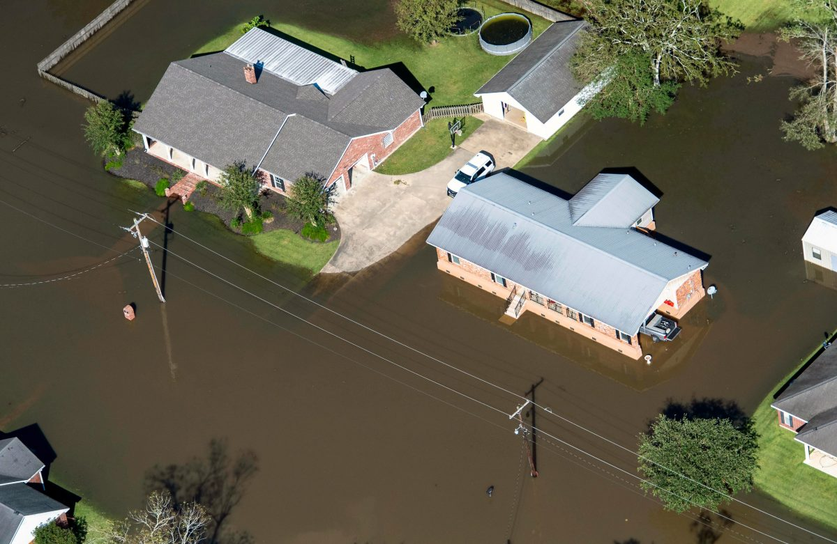 Houses surrounded by flood water